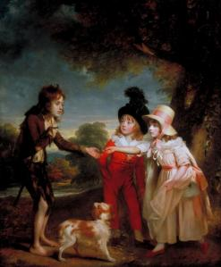 Portrait of Sir Francis Ford's Children Giving a Coin to a Beggar Boy exhibited 1793 by Sir William Beechey 1753-1839